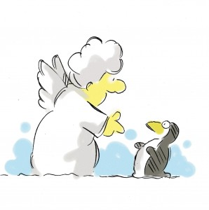 Snow God talks to penguin