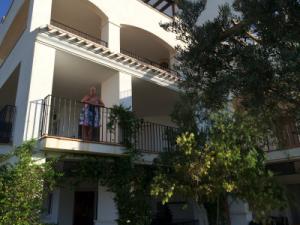 Cathy on balcony